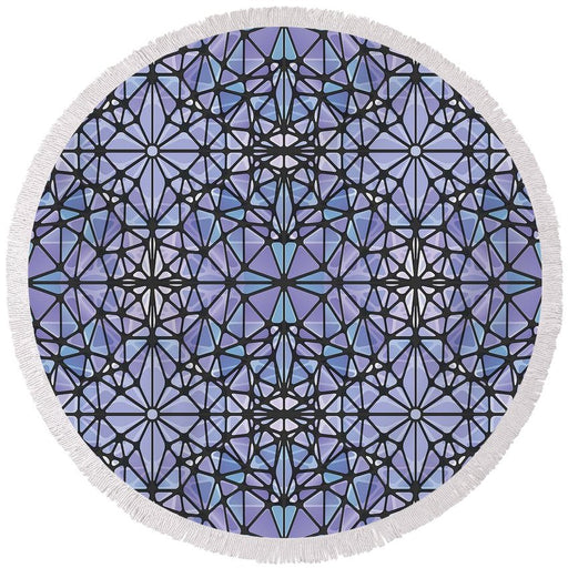 Purple And Blue Kaleidoscope - Round Beach Towel