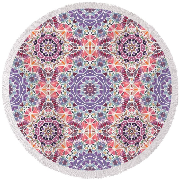 Purple And Pink Kaleidoscope - Round Beach Towel