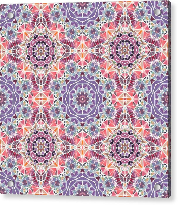 Purple And Pink Kaleidoscope - Acrylic Print