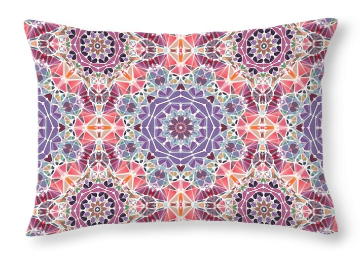 Purple And Pink Kaleidoscope - Throw Pillow