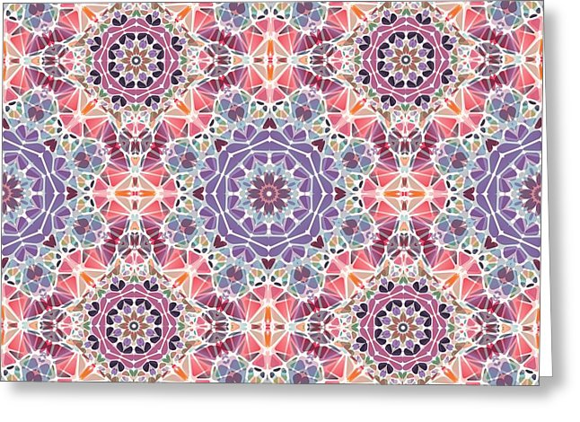 Purple And Pink Kaleidoscope - Greeting Card