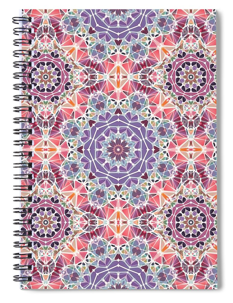 Purple And Pink Kaleidoscope - Spiral Notebook