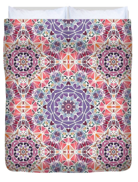Purple And Pink Kaleidoscope - Duvet Cover