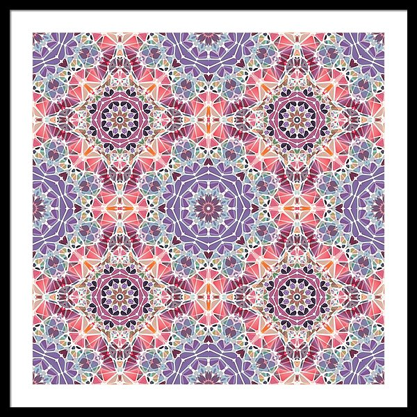 Purple And Pink Kaleidoscope - Framed Print