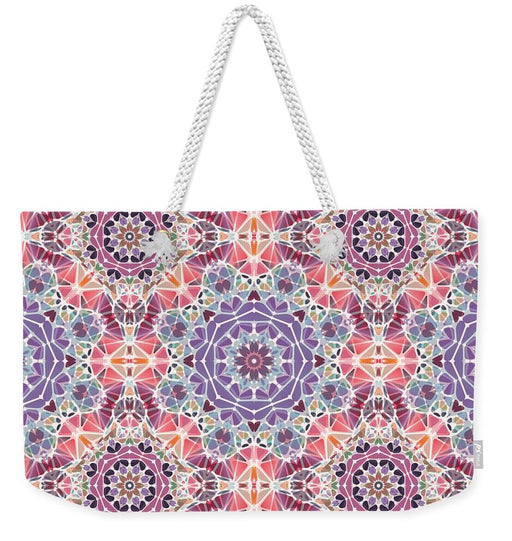 Purple And Pink Kaleidoscope - Weekender Tote Bag