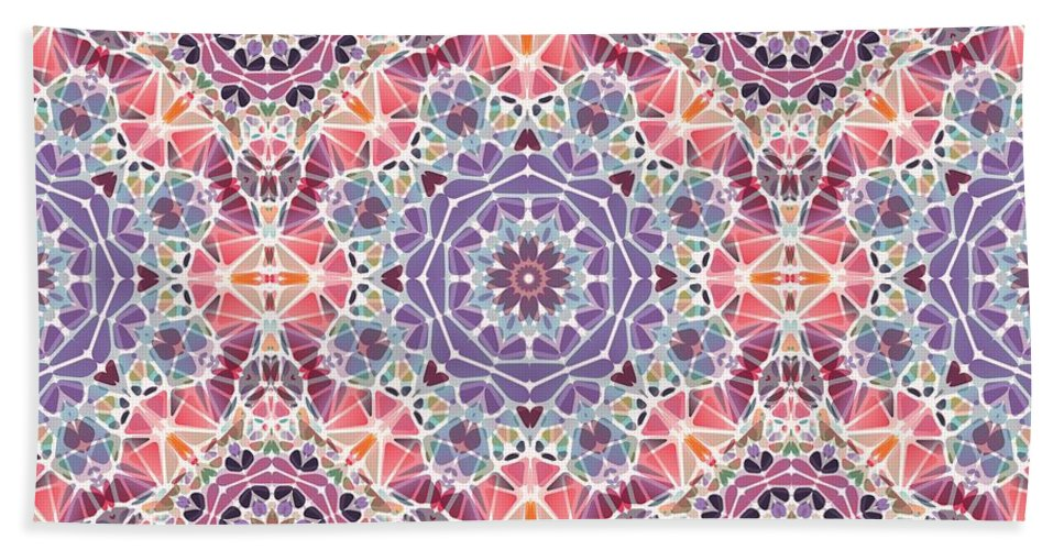 Purple And Pink Kaleidoscope - Beach Towel