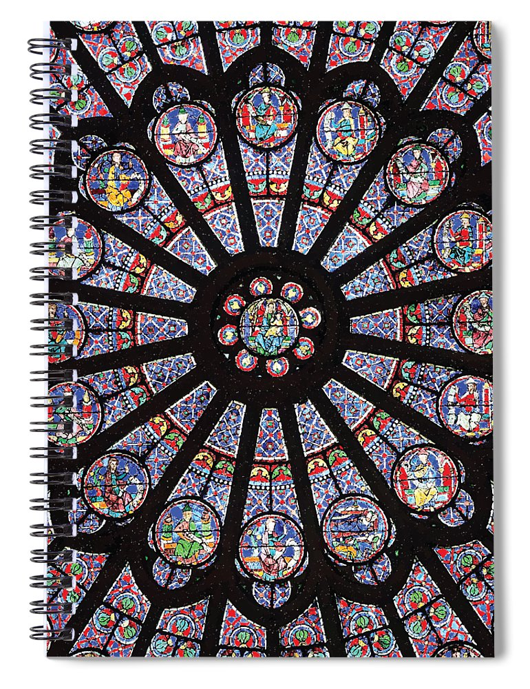 Rose South Window, Notre Dame Paris - Spiral Notebook