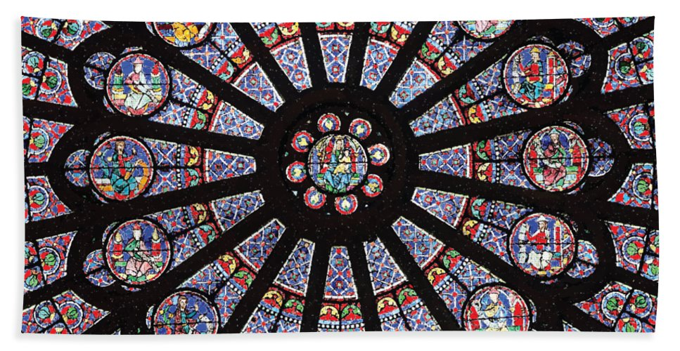Rose South Window, Notre Dame Paris - Bath Towel
