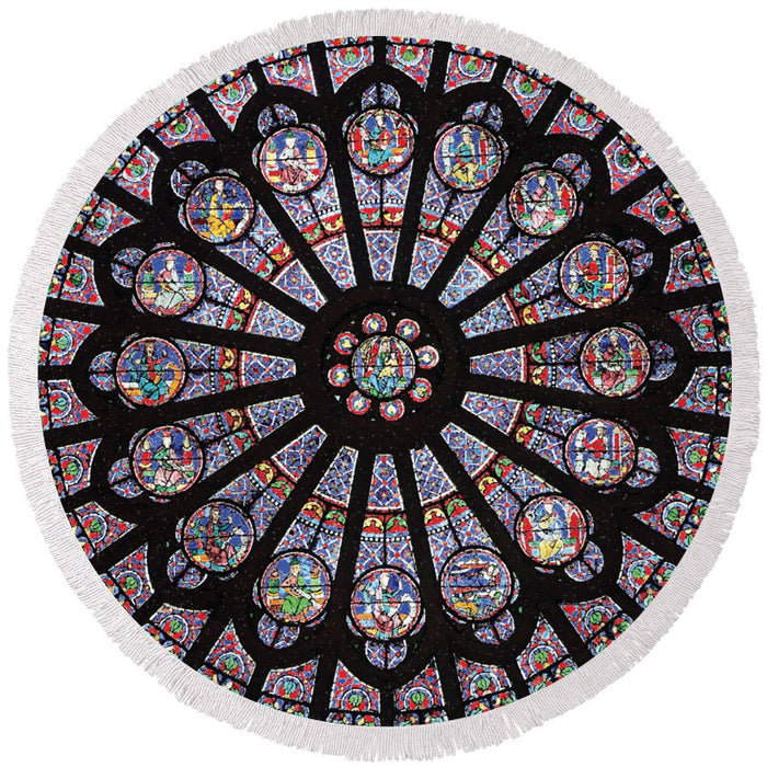Rose South Window, Notre Dame Paris - Round Beach Towel
