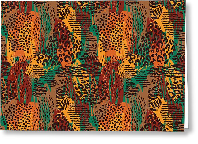 Safari Animal Print Mashup - Greeting Card