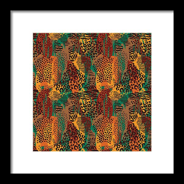 Safari Animal Print Mashup - Framed Print