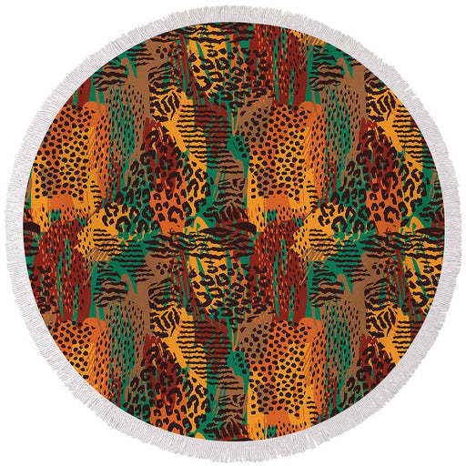 Safari Animal Print Mashup - Round Beach Towel