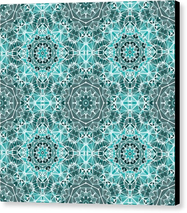Turquoise And Gray Kaleidoscope - Canvas Print