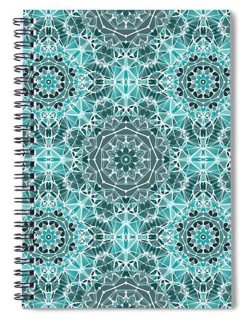 Turquoise And Gray Kaleidoscope - Spiral Notebook