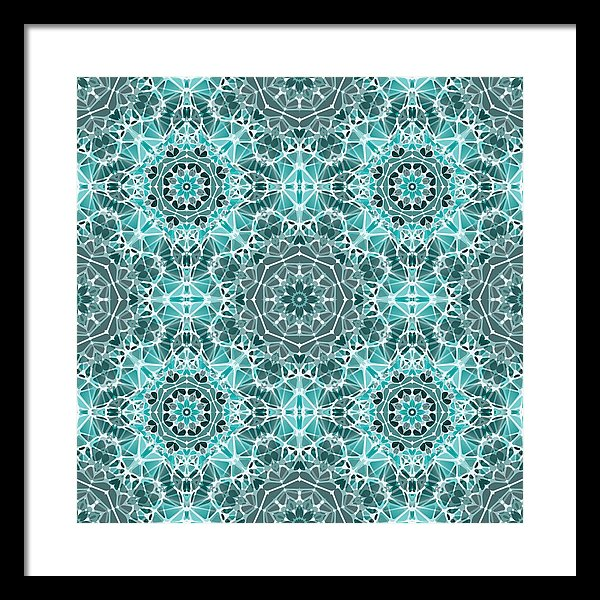 Turquoise And Gray Kaleidoscope - Framed Print