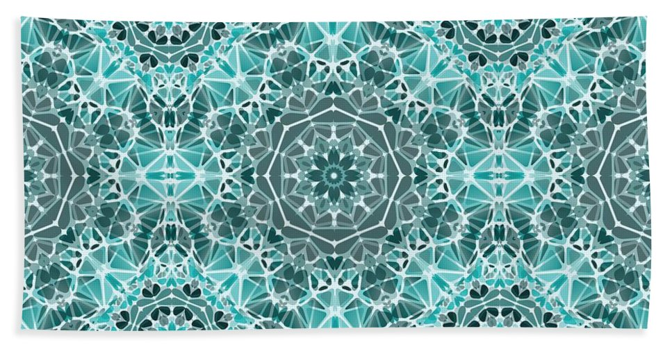 Turquoise And Gray Kaleidoscope - Beach Towel