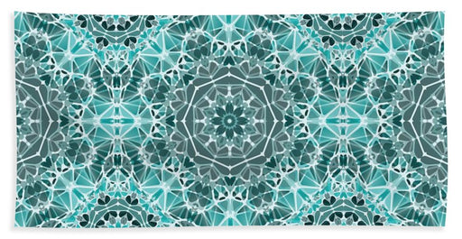 Turquoise And Gray Kaleidoscope - Bath Towel