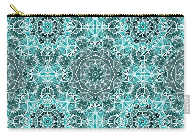 Turquoise And Gray Kaleidoscope - Carry-All Pouch