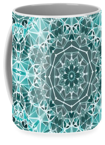 Turquoise And Gray Kaleidoscope - Mug