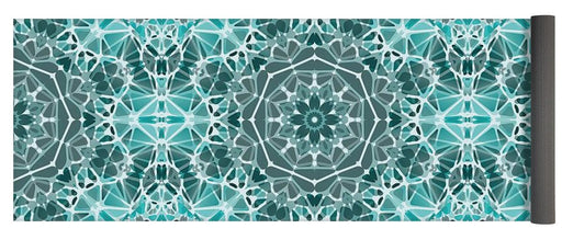 Turquoise And Gray Kaleidoscope - Yoga Mat