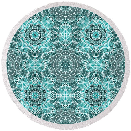 Turquoise And Gray Kaleidoscope - Round Beach Towel