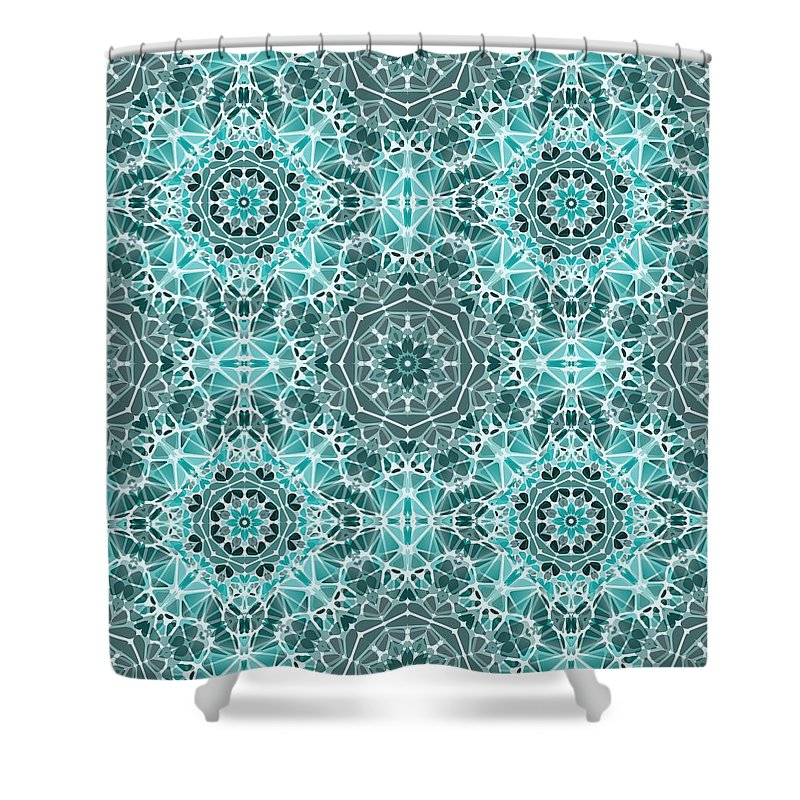Turquoise And Gray Kaleidoscope - Shower Curtain