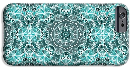 Turquoise And Gray Kaleidoscope - Phone Case