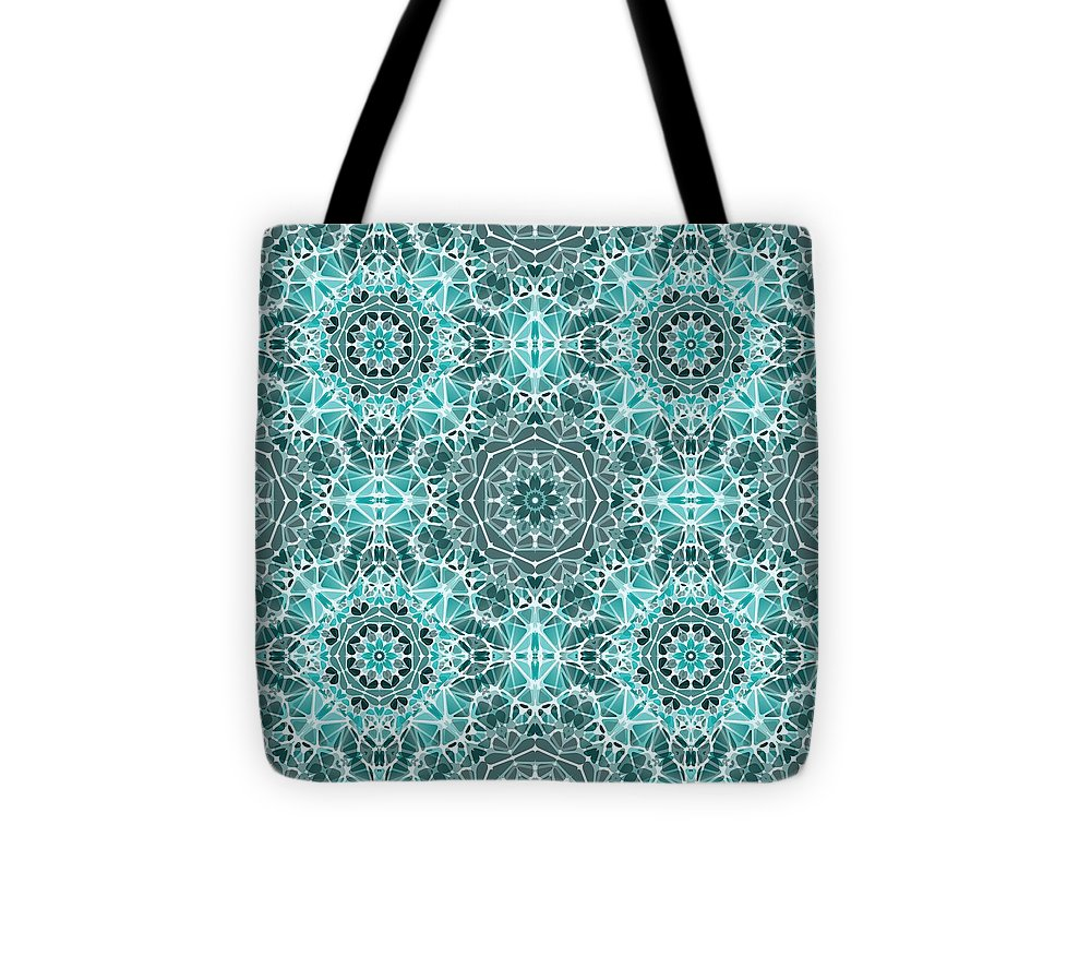 Turquoise And Gray Kaleidoscope - Tote Bag
