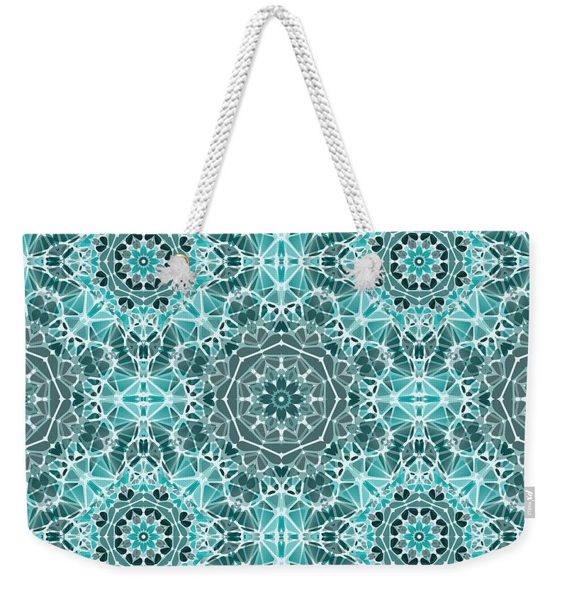 Turquoise And Gray Kaleidoscope - Weekender Tote Bag