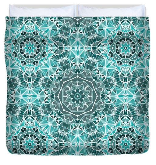 Turquoise And Gray Kaleidoscope - Duvet Cover
