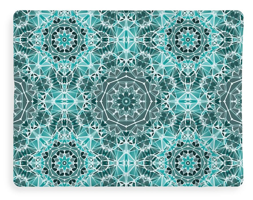 Turquoise And Gray Kaleidoscope - Blanket