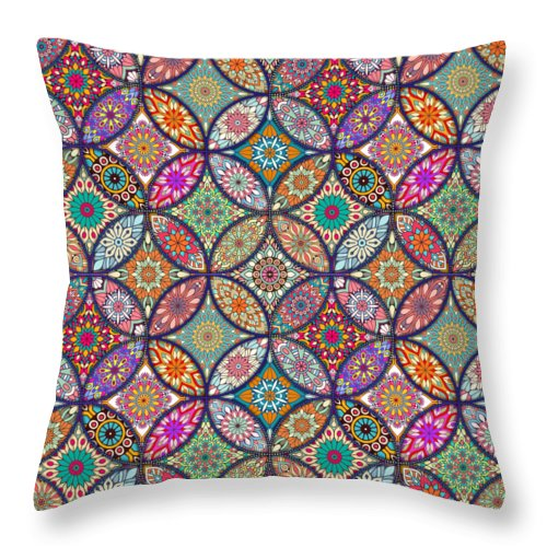 Vibrant Mandalas - Throw Pillow