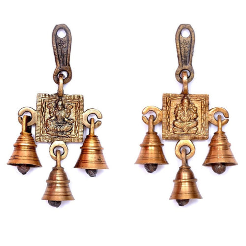 Brass Laxmi Ganesh Wall Hanging Bell (Set of 2)