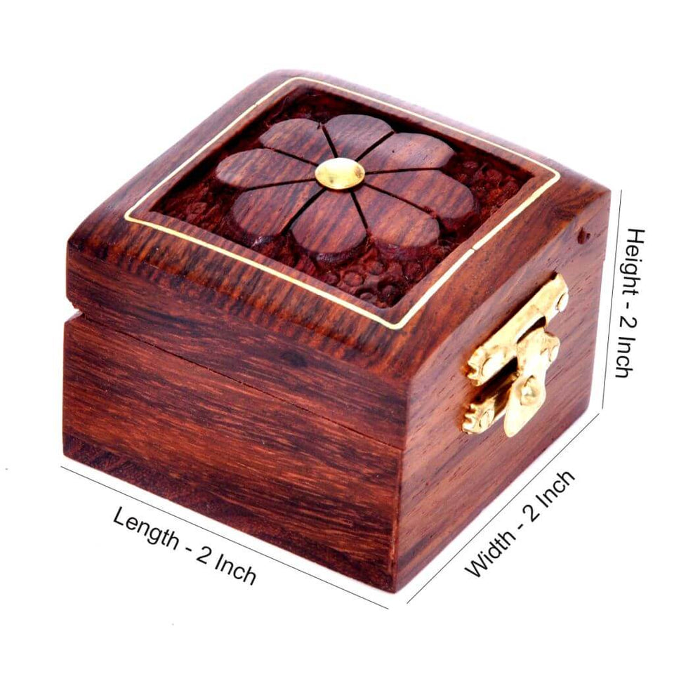 Small Wooden Double Ring Box with Handcraved Design