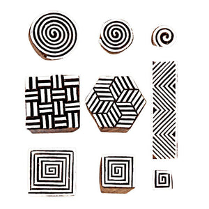 Geometrical Designs Wooden Stamps