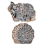 Elephant & Peacock Big Size Wooden Printing Stamps