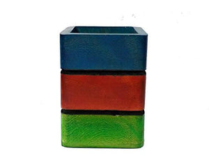 Wooden Pen Stand, Pencil Holder in Colorful | 3x3 Inch