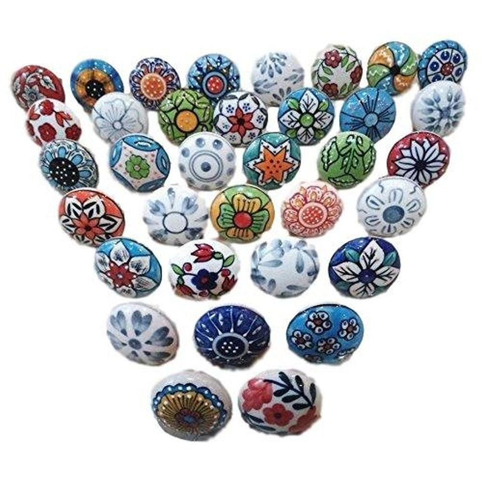 Hashcart Vintage Look Flower Ceramic Door/ Drawer Knobs Handle(20 pcs.)