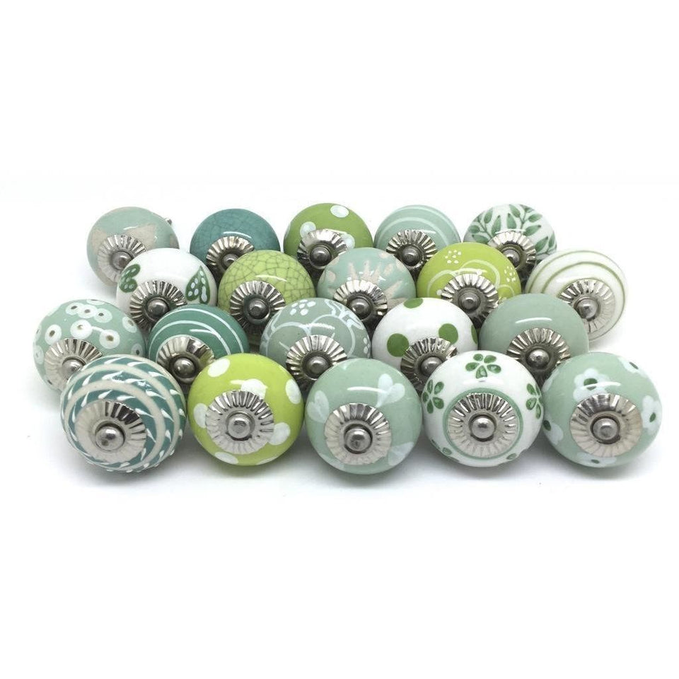 Hashcart Green & White Cream Ceramic Pottery Door knobs Cupboard Pullers(20 pcs.)
