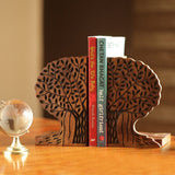 Wooden Decorative Hand Carved Tree of Life Design Book End