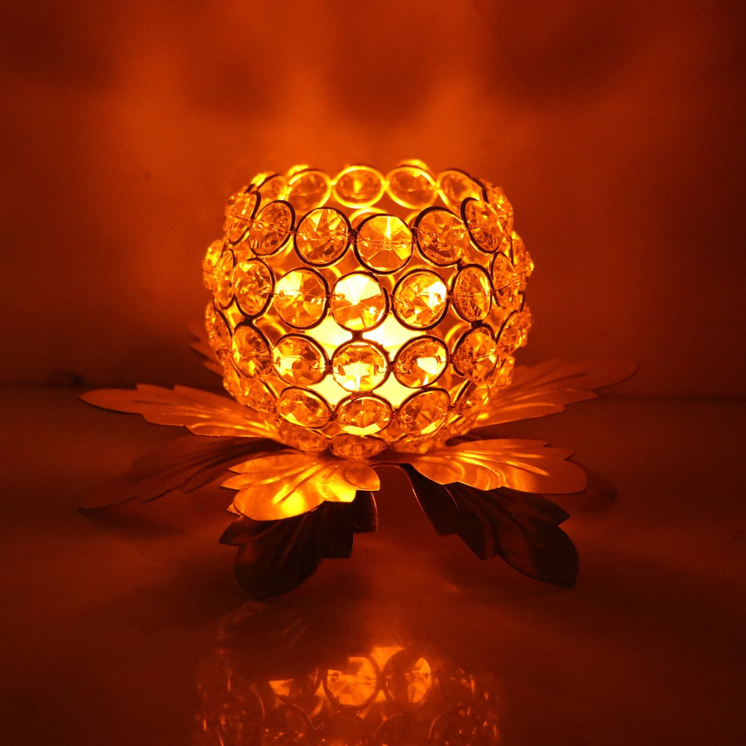 Decorative Crystal Brass Diamond Ball Tealight Holder