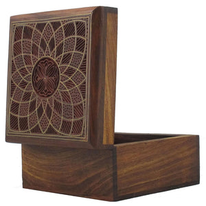Wooden Decorative Storage Box with Lid