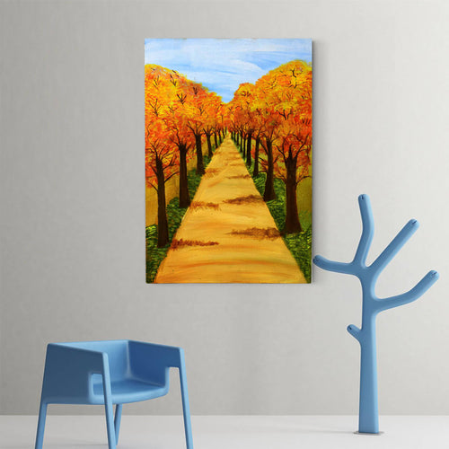 Handmade Painting of Roads & Trees With Acrylic Colours On Canvas - 16x12 Inch