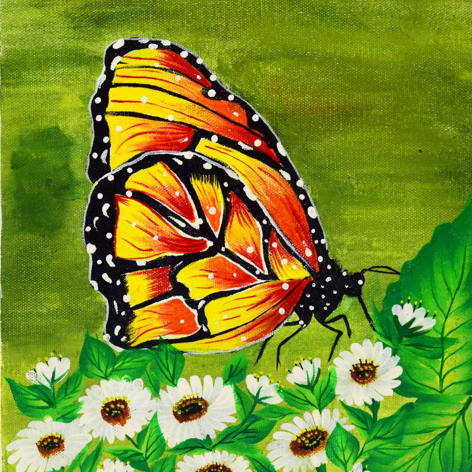 Hand Painted Butterfly & Flowers Acrylic Colours On Canvas