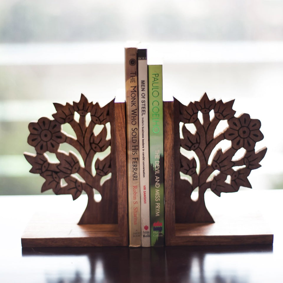 Wooden Hand Carved & Engraved Tree of Life Book End in Sheesham Wood