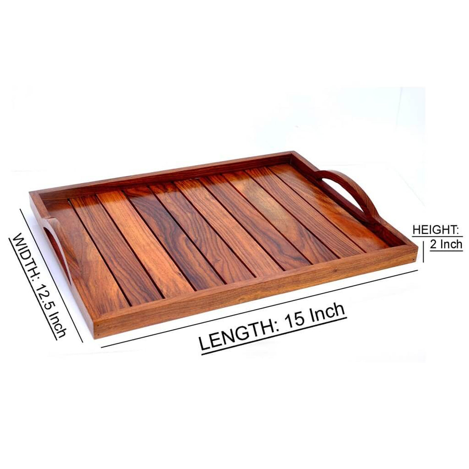 Handemade Sheesham Wooden Serving Trays (Set of 3)