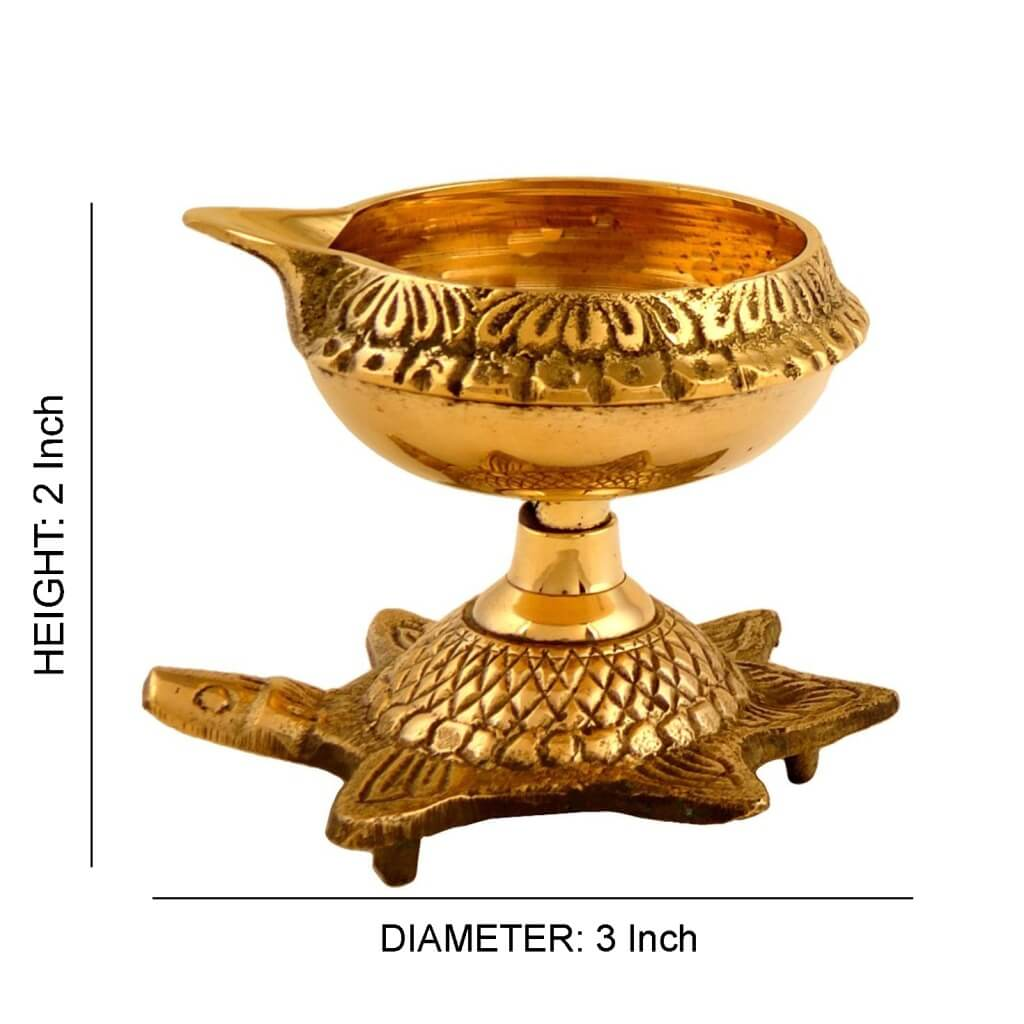 Turtle Base Brass Oil Diyas