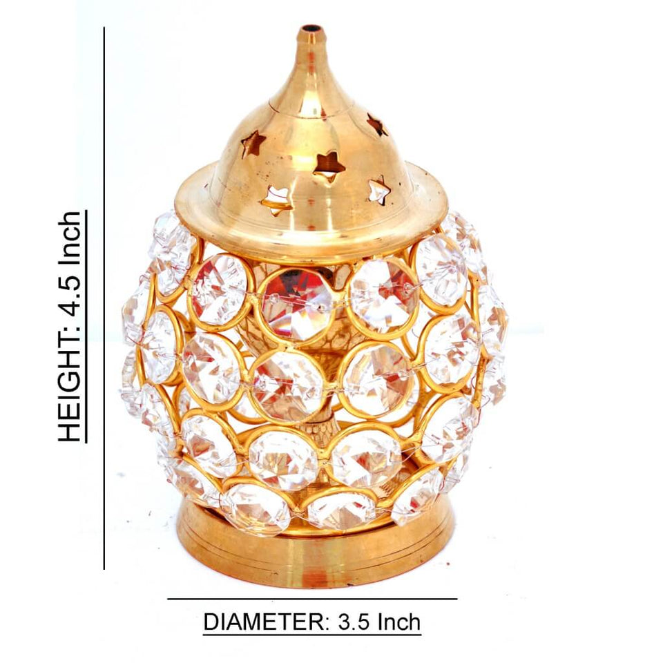 Akhand Diya Decorative Brass Crystal Oil Lamp | Medium