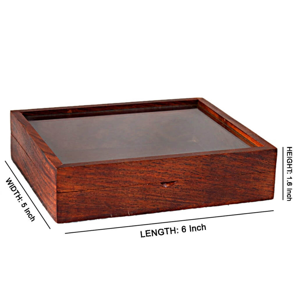 Decorative Wooden Box With Glass Lid (6x5 inch)
