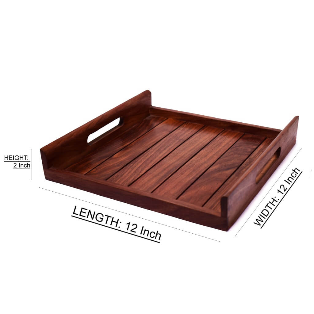 Sheesham Wood Serving Tray For Kitchen(12x12) Inch